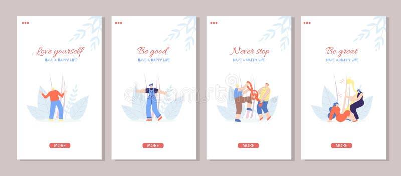Motywuje Szczęśliwych życiowych historii mieszkania Ogólnospołecznego Medialnego set royalty ilustracja