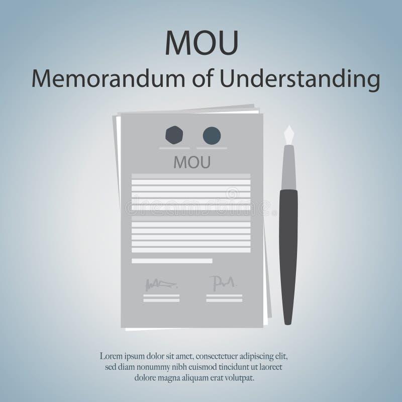 Mou-anteckning av överenskommelse royaltyfri illustrationer