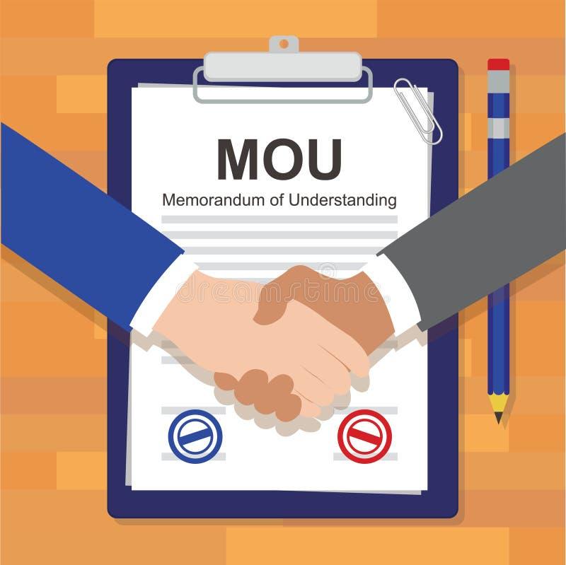 Mou-anteckning av stämpeln för överenskommelse för lagligt dokument för överenskommelse royaltyfri illustrationer