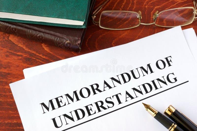 MOU del Memorando de Entendimiento imagen de archivo