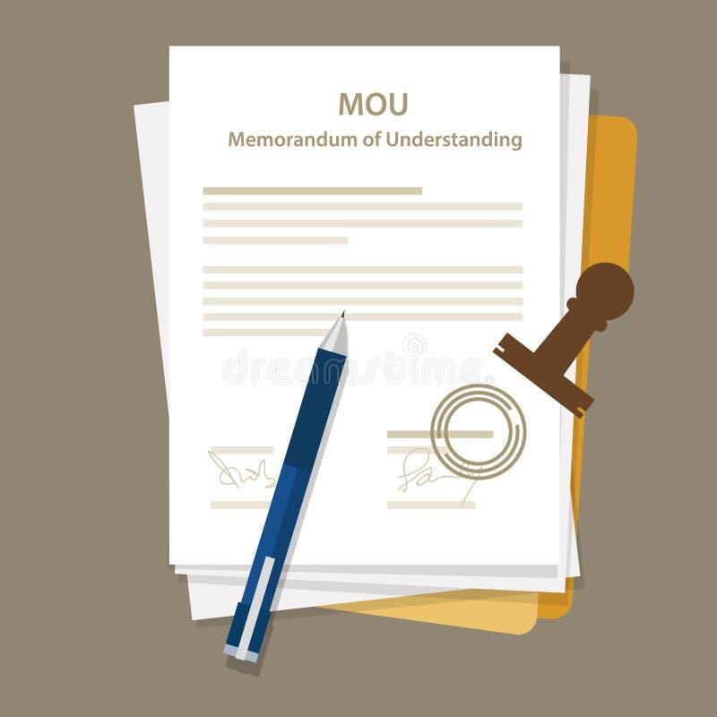 Mou memorandum porozumienia dokumentu prawnego zgody znaczek ilustracji