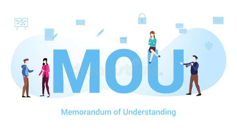 Mou memorandum of understanding concept with big word or text and team people with modern flat style - vector. Illustration royalty free illustration