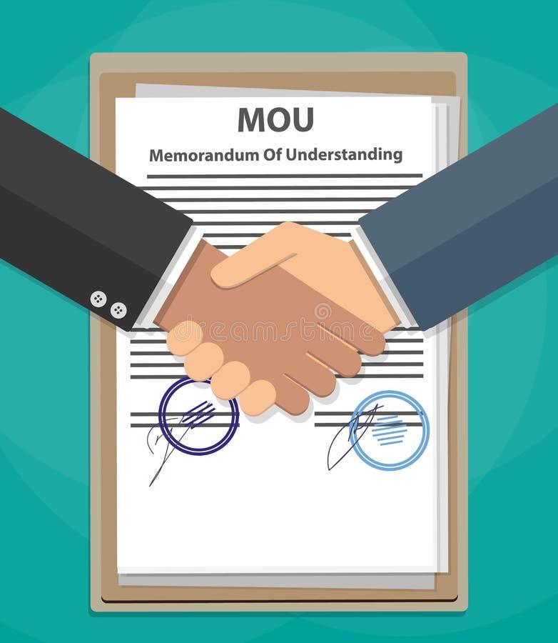 MOU memorandum of understanding handshake. Two cartoon Businessman handshake on mou memorandum of understanding legal document contract papers after agreement royalty free illustration