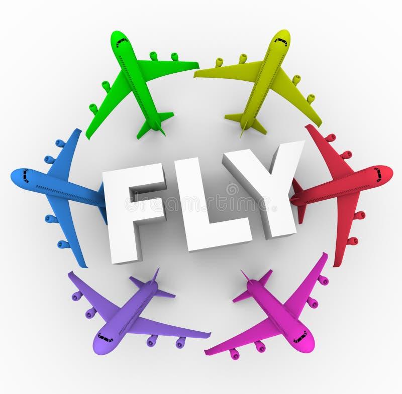Mouche - avions colorés autour de mot illustration stock