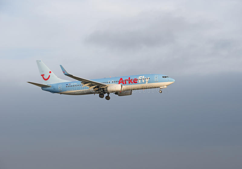 Mouche Boeing d'Arke 737 PH-TFD photo libre de droits