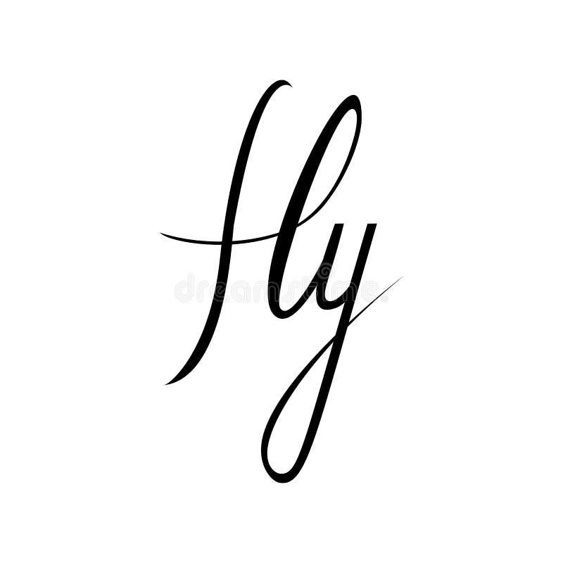 mouche Citation inspirée au sujet d'heureux Expression moderne de calligraphie avec les oiseaux tirés par la main de silhouette L illustration libre de droits