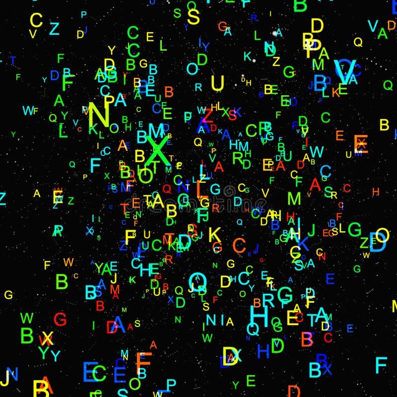 Mouche colorée abstraite d'alphabet sur le fond noir illustration stock