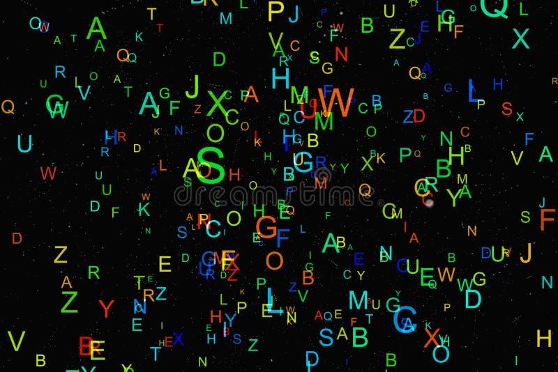 Mouche colorée abstraite d'alphabet sur le fond noir illustration de vecteur