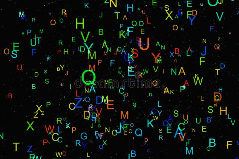 Mouche colorée abstraite d'alphabet sur le fond noir illustration libre de droits
