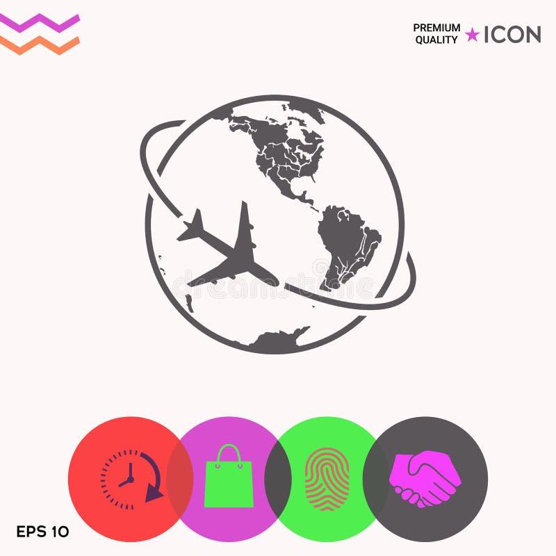Mouche d'avion autour de l'icône de logo de la terre de planète illustration de vecteur