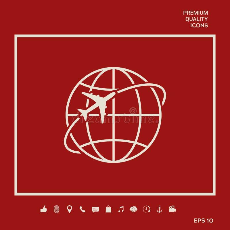 Mouche d'avion autour de l'icône de logo de la terre de planète illustration libre de droits