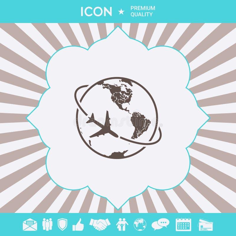 Mouche d'avion autour de l'icône de logo de la terre de planète illustration stock
