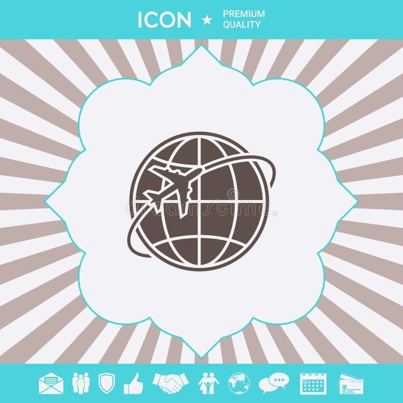 Mouche d'avion autour du logo de la terre de planète illustration de vecteur