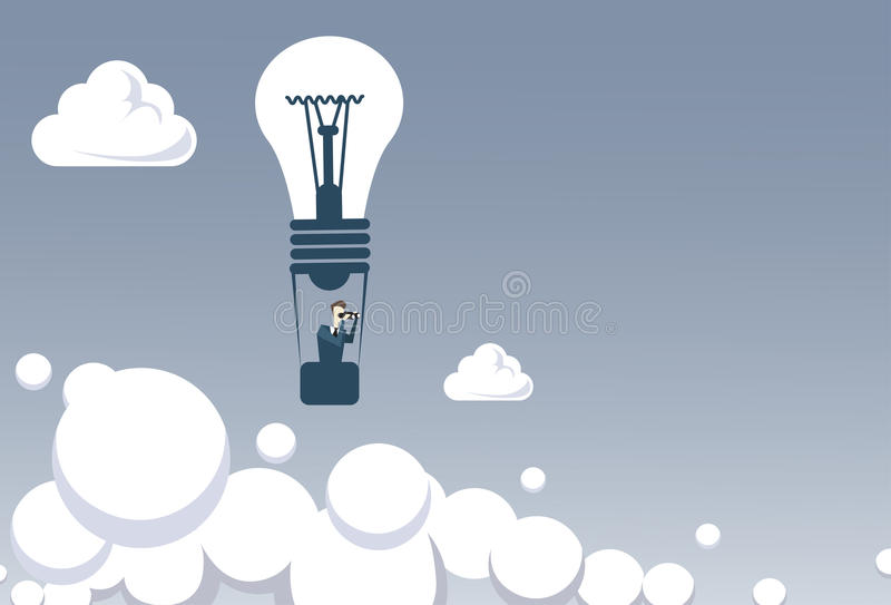 Mouche d'homme d'affaires sur concept réussi de recherche binoculaire de prise de ballon à air d'ampoule le futur illustration libre de droits