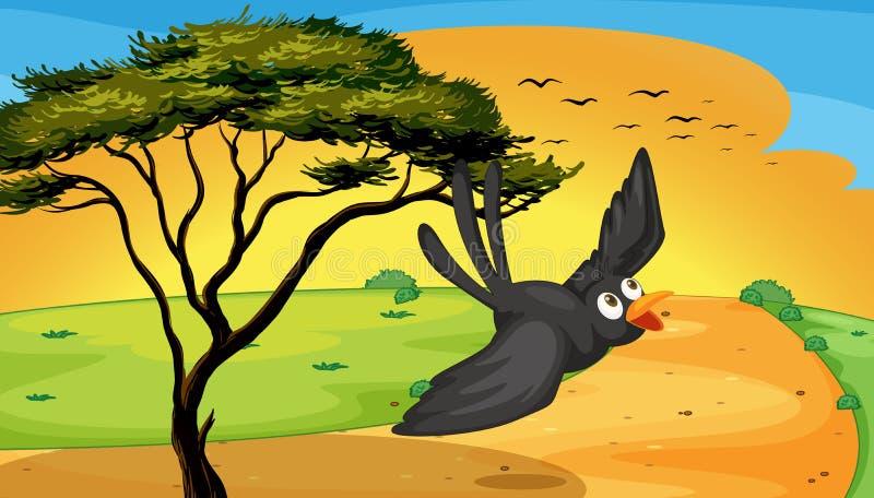 Mouche d'oiseau près d'arbre illustration stock