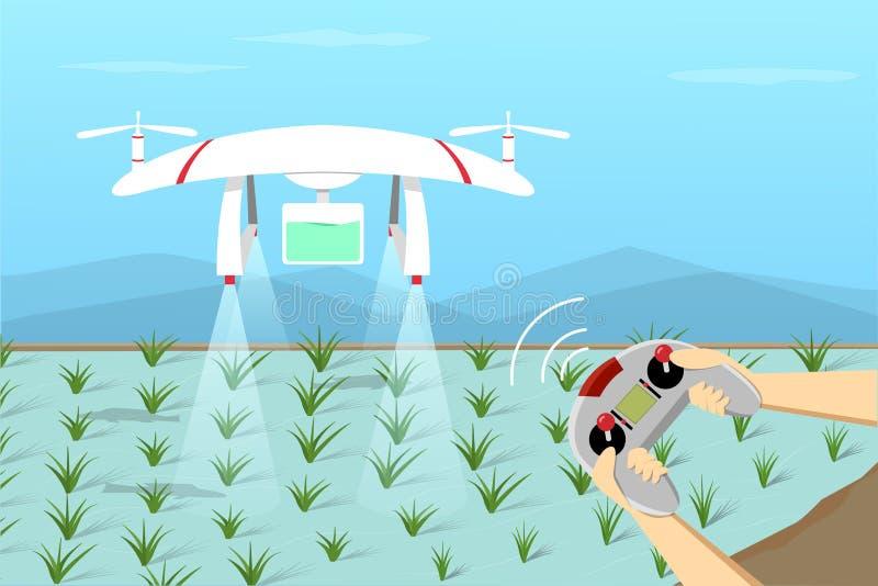 Mouche de bourdon d'agriculture sur le paddy par à télécommande illustration libre de droits