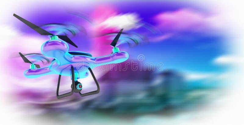 mouche de concept de technologie de bourdon sur l'air images libres de droits