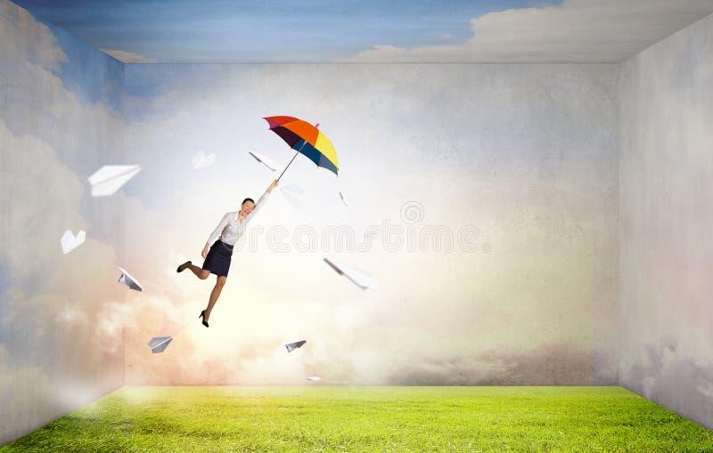 Download Mouche De Femme Sur Le Parapluie Image stock - Image du cityscape, ciel: 56481217
