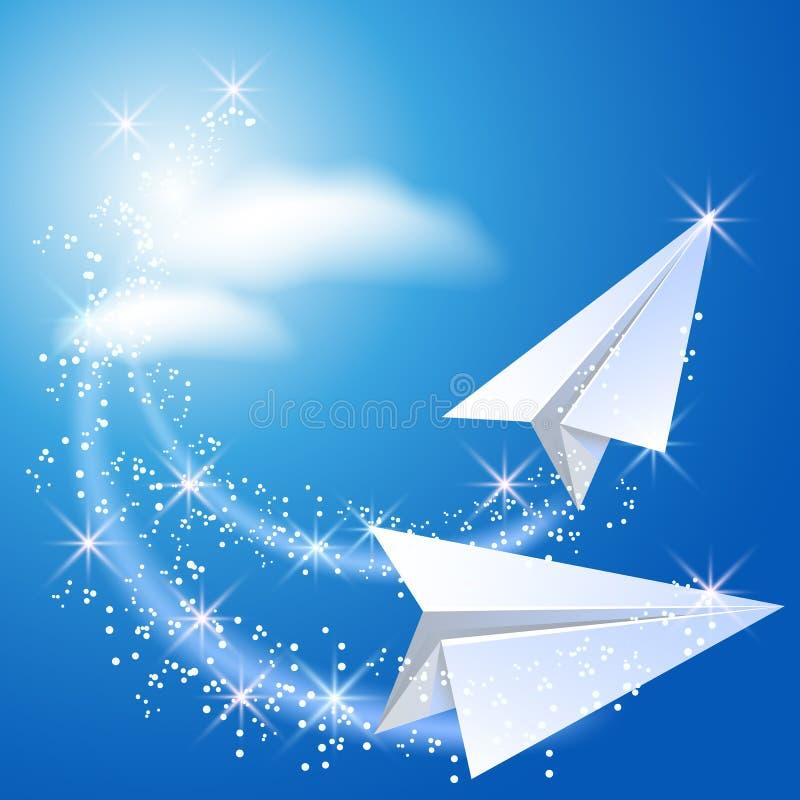 Avion deux de papier illustration de vecteur