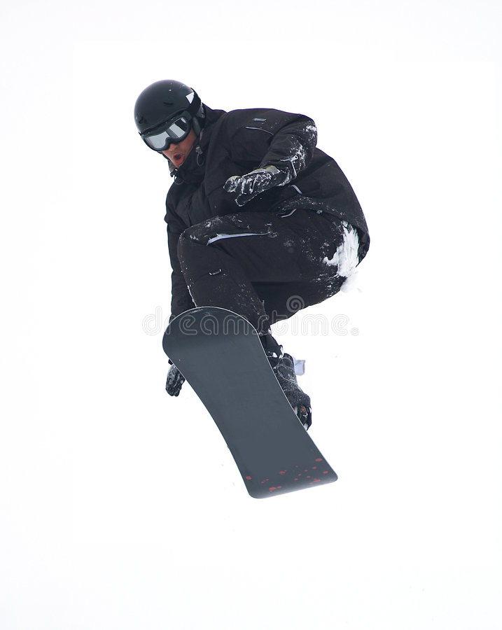 Mouche de Snowboarder d'isolement photographie stock libre de droits