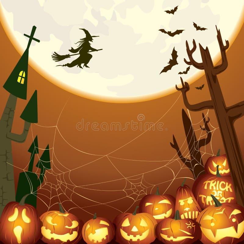 Mouche de sorcière au-dessus de l'illustration de fond de lune illustration de vecteur