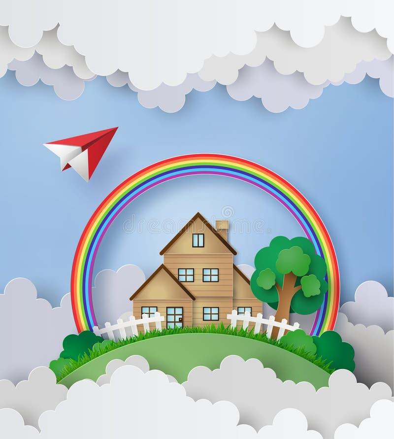Mouche plate au-dessus de la maison avec l'arc-en-ciel et le nuage illustration libre de droits