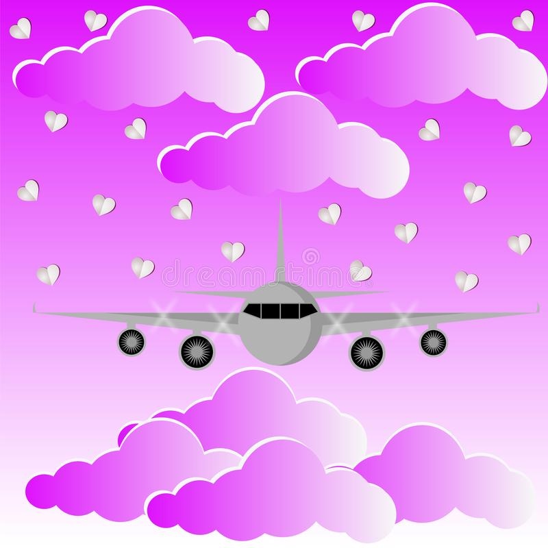 Mouche plate au-dessus des nuages roses et de l'amour Backgrouund de ciel illustration libre de droits