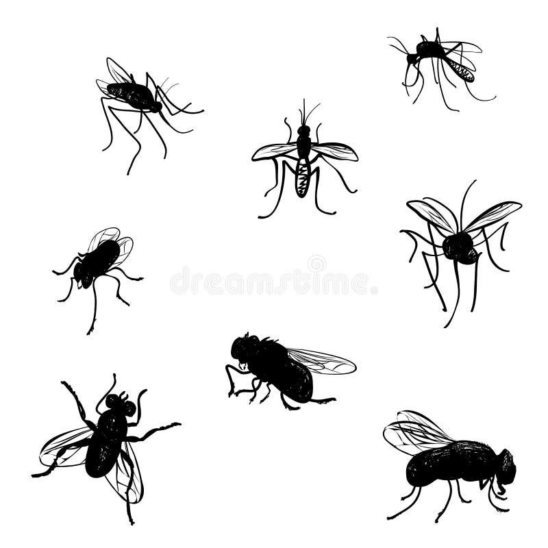 Mouches et moustiques de griffonnage. illustration de vecteur