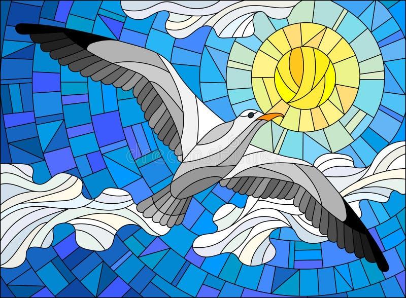 Mouette d'illustration en verre souillé sur le fond du ciel, du soleil et des nuages illustration stock