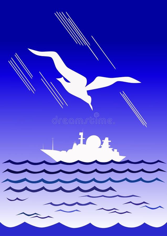 Mouette ene ivoire et bateau blanc illustration libre de droits