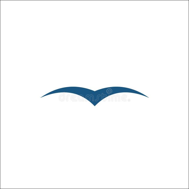 Mouettes d'isolement Silhouettes bleues simples de mouette illustration libre de droits
