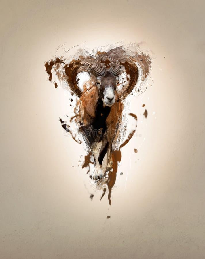 Mouflon, concepto animal abstracto fotografía de archivo