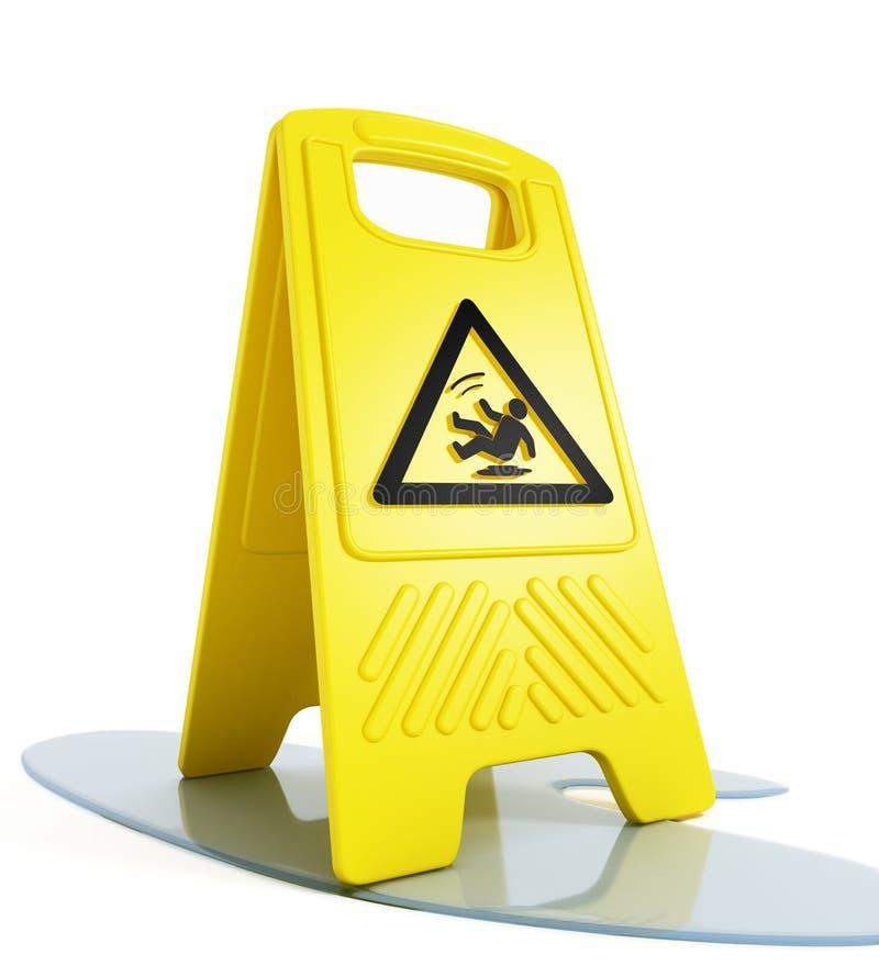 Mouillez l'avertissement (glissant) de plancher illustration stock