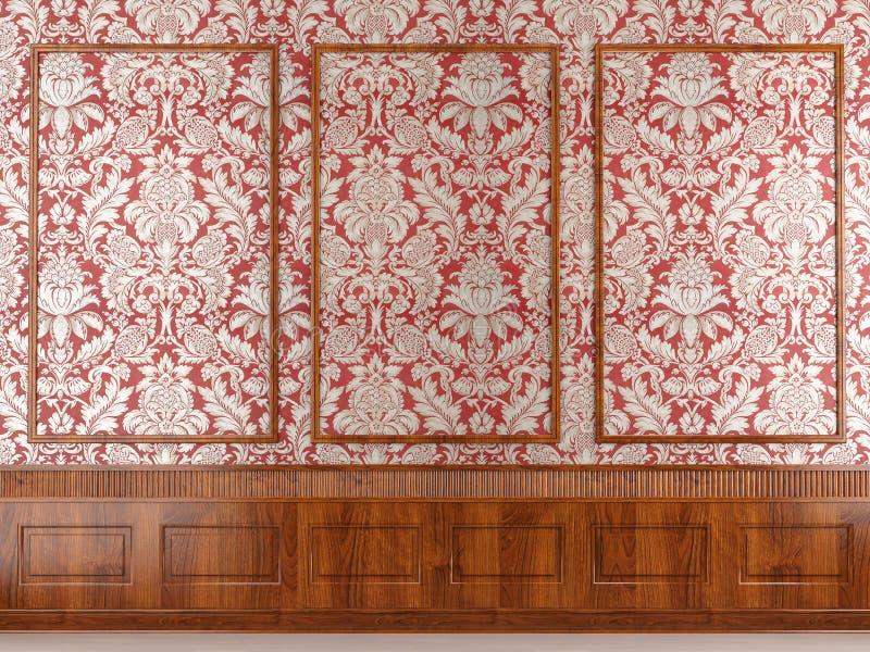 Moulage rouge de papier peint et en bois illustration de vecteur