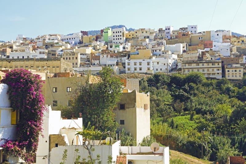 Moulay Idriss是最圣洁的镇在摩洛哥。 库存照片