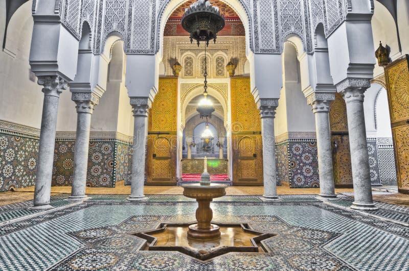 Moulay Ismail Mausoleum bei Meknes, Marokko lizenzfreie stockfotos