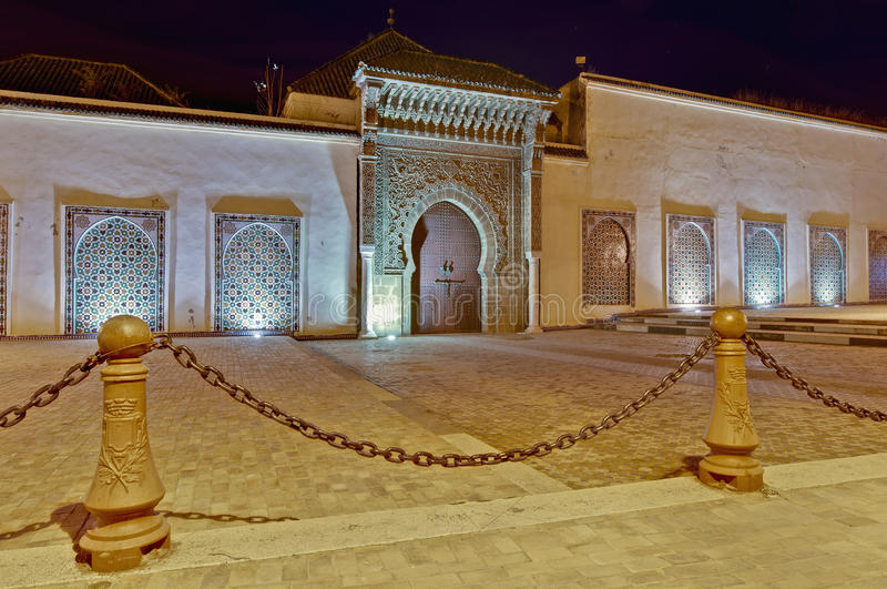 Moulay Ismail Mausoleum at Meknes, Morocco. Moulay Ismail Mausoleum entrance door at Meknes, Morocco stock photos