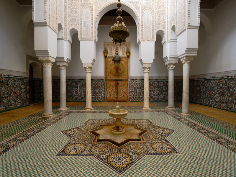 Moulay Ismail Mausoleum at Meknes, Morocco. MEKNES, MOROCCO - NOVEMBER 28: The interior of the tomb Moulay Ismail Mausoleum. Meknes on November 28, 2015 royalty free stock images