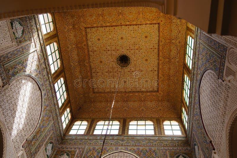 Moulay Ismail mauzoleumu wnętrze przy Meknes, Maroko fotografia royalty free