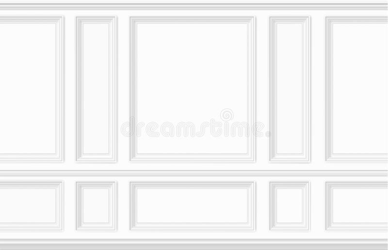 Moulding white wall panel. White wall decorated with moulding panels. Classic interior decor of the living room. Seamless vector background vector illustration