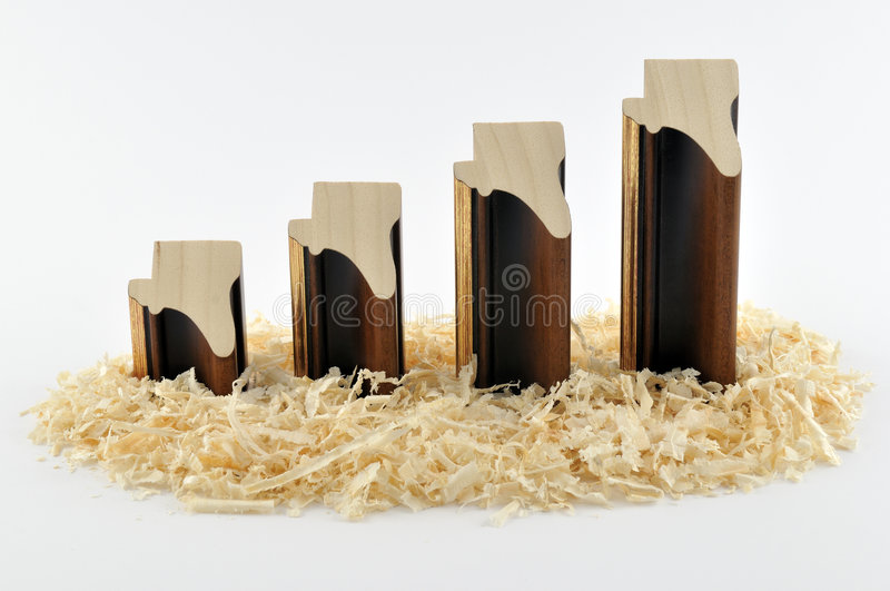 Mouldings diagram. Diagram made from wooden picture frame mouldings royalty free stock photography