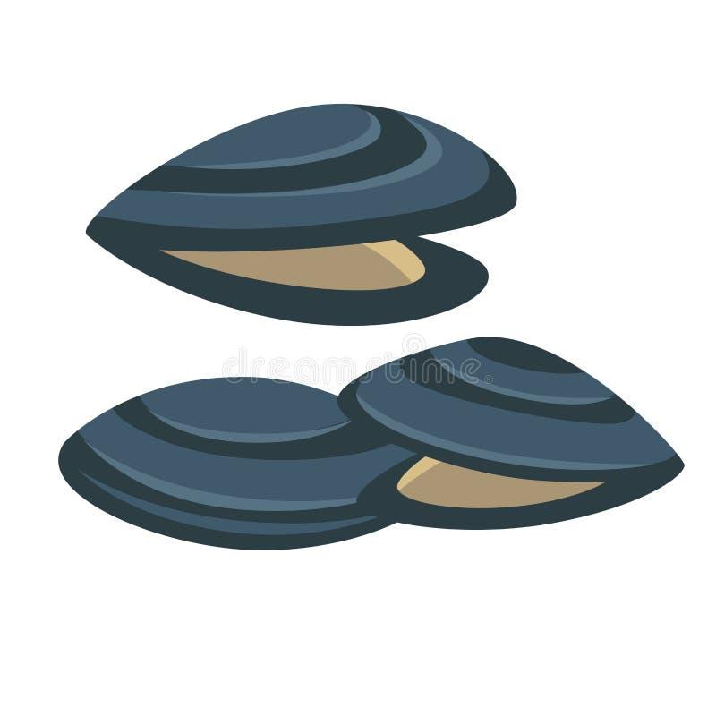 Moule de vecteur Icône fraîche et savoureuse de fruits de mer illustration libre de droits