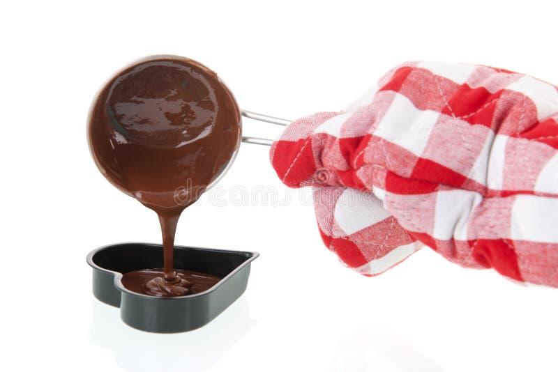 Moule pour faire le coeur de chocolat photo stock