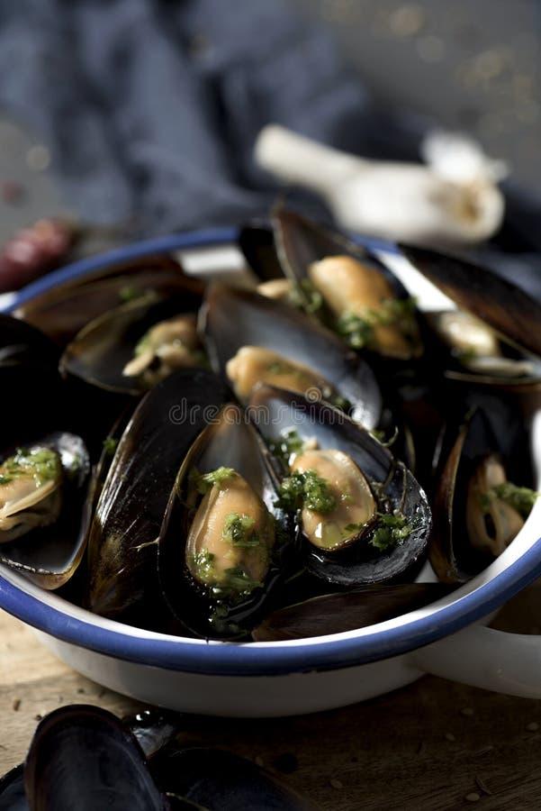 Moules mariniere,淡菜法国食谱  库存图片
