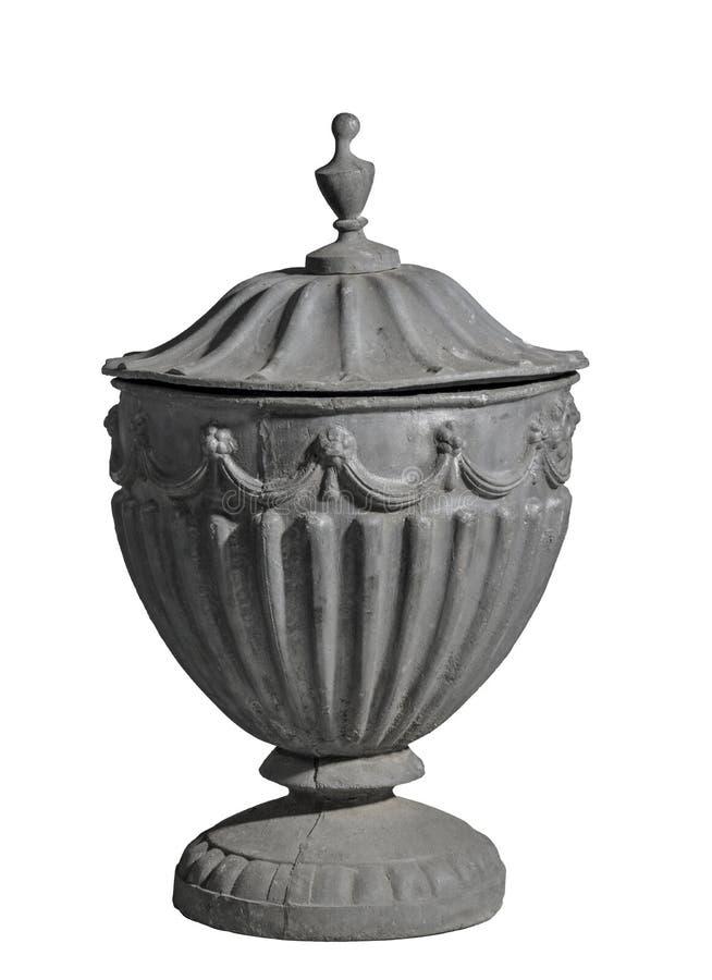 Moulez la vieille urne de jardin d'avance d'isolement sur le blanc image libre de droits