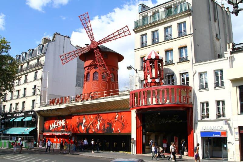 Moulin胭脂在巴黎 库存照片