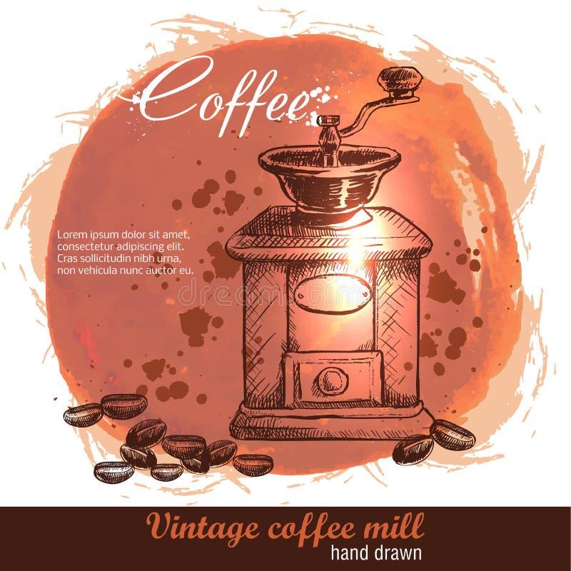 Moulin à café tiré par la main de vintage avec le sort de grains de café illustration stock