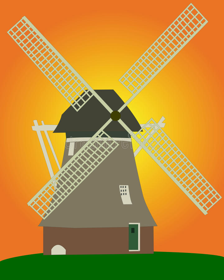 Moulin à vent illustration de vecteur