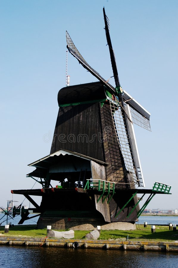 Moulin à vent chez Zaanse Schans, Hollande images stock