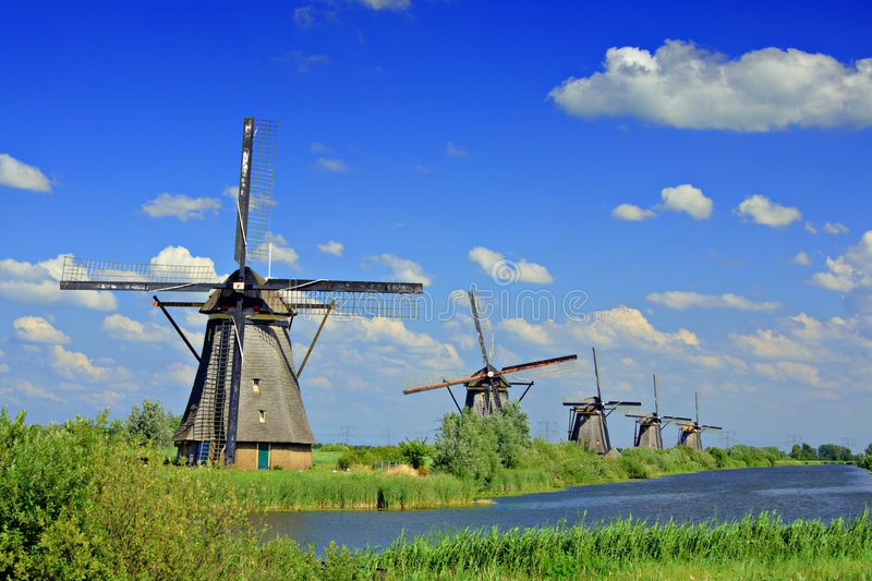 moulin à vent de kinderdijk de la Hollande images libres de droits
